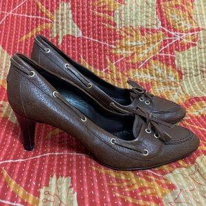 Balenciaga Paris Leather Bow Loafer Heels Sz 38.5
